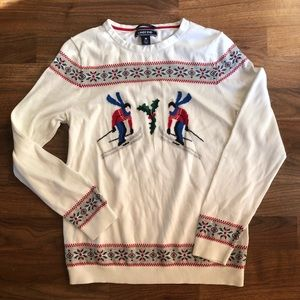 Lands' End White Ski Holiday Fair Isle Sweater M